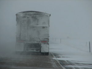 Truck on icy road